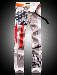 Men's American Flag Print Slim Denim Jeans