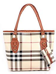 Estilo coreano Casual padrão de verificação Tote das Erlen Mulheres / One Shoulder Bag Set (Sreen Cor)