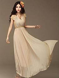 Women's V Neck Splicing Lace Short  Sleeves  Pleated  Maxi Dress