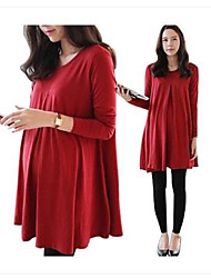 Plus Size Korean Style Long Maternity Tops Clothes for Preganant Women Long Sleeve Shirts Dress Spring/Fall