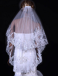 Wedding Veil Two-tier Fingertip Veils Lace Applique Edge 31.5 in (80cm) Tulle White IvoryA-line, Ball Gown, Princess, Sheath/ Column,