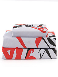 "Sheet Set,4-Piece Microfiber Words Leaf Red and Red with 12"" Pocket Depth"