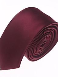 Herren Fest Farbe Fashion Wine Red Narrow Mikrofaser Krawatte