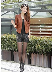 Women's Short Slim Casual Leather Coat