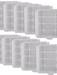 Alta calidad profesional protector Case PVC de almacenamiento para 4 x AA / AAA Baterías-White (10PCS)