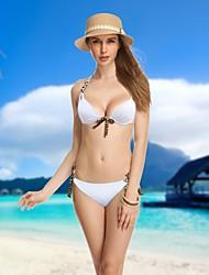 Women's Halter Bikinis , Solid Push-up/Wireless/Padded Bras Nylon/Spandex White