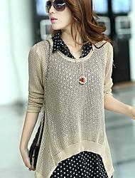 Camisa de manga larga de las mujeres blusa de gasa pieza Hollow Plus Escudo Tamaño suéter de punto