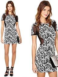 Stripe cuello redondo de las mujeres de la gasa imprimió el mini vestido de empalme