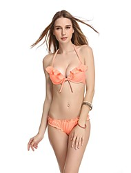 Women's Halter Bikinis , Solid/Ruffle Push-up/Wireless/Padded Bras Nylon/Spandex Orange