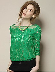 Women's Lace Green/White Blouse , Bateau ¾ Sleeve Lace