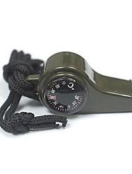 3-in-1 fischio di sopravvivenza con la bussola e termometro-Green