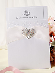 Wrap & Pocket Wedding Invitation With Organza Ribbon and Heart Rhinestone - Set of 12