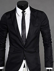 U&F Men's Profession Black Suit Blazer Shoulder Pad One Buckle Long Sleeve Work Suit Blazer