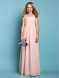 Lanting Bride® Floor-length Chiffon Junior Bridesmaid Dress Sheath / Column Halter Natural with Ruching