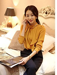 Chiffon Diamonade coube a luva longa das CHAOLIU Mulheres Estilo coreano camisa (amarela, azul)