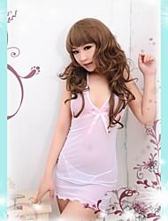 Hot Feminino branco bonito Sexy Translúcido Ice Silk Lingerie Roupa de dormir com G-Corda