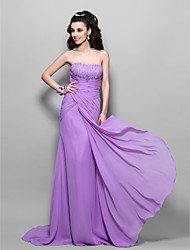 Prom/Formal Evening/Military Ball Dress - Lilac Plus Sizes Trumpet/Mermaid Strapless Sweep/Brush Train Chiffon