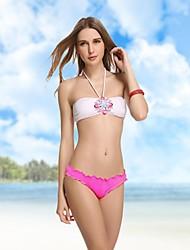 Blanco de las mujeres de la manera cristalina del diamante Bandeau Bikini Swimwear Natación Trajes de B