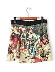 Vivi Roger Women's Farm Ink Oil Painting Printing Skirt(Screen Color)