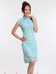Women's Vintage / Lace Solid / Lace Sheath Dress , Stand Above Knee Silk / Lace