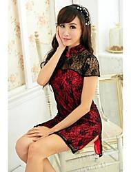 Encantadores Ultra Sexy Cute manga curta Lace Cheongsam & Dormir Camisas e vestidos da mulher