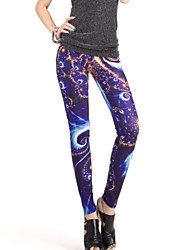 Elonbo Oriente The Starry Sky Estilo Pintura Digital apertado Mulheres Leggings