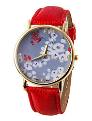 Damen Quartz Band Blume Schwarz Weiß Rot Braun Grün Rose Rotgold Rose Braun Rot Grün Blau