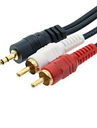 3,5 mm a 2x RCA Audio Cavo di collegamento (nero, 2m)