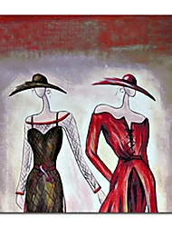 Hand Painted Oil Painting People Two Elegant Ladies with Stretched Frame