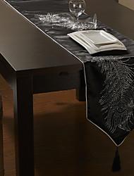 Noir / Argent Rectangulaire Chemins de table