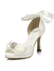 Satin Damen Hochzeit Pfennigabsatz Peep Toe Sandaletten mit Strass-Schuhe (weitere Farben)