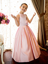 LAN TING BRIDE A-line Princess Floor-length Flower Girl Dress - Satin Jewel with Flower(s) Sash / Ribbon