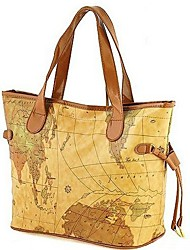 Erlen Women's European Style Map Print Tote/One Shoulder/ Bag(Sreen Color)