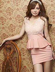Women's V Neck Lace/Ruffle Mini Dress , Lace/Cotton Black/Pink/White Lace/Sexy/Bodycon