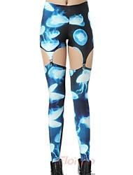 Elonbo Jellyfish Style Digital Painting Tight Women Clip Leggings
