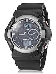 reloj de pulsera deportivo de banda doble zona de tiempo de los hombres de múltiples funciones de silicona (colores surtidos)