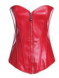 Darling Clothes Women's Sexy Red Strapless Chain Sheath PU Leather Corset