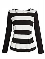 Frauen runden Kragen dicke Streifen-T-Shirt (ohne Zubehör, Strass, handgemachte Blumen, Bogen-Knoten, Pailletten etc.)