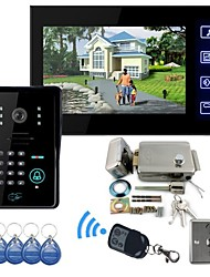"7"" TFT Color LCD Video Door Phone RFID Keypad Access Control System Video Record IR Night Vision"