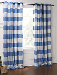 Country Two Panels Floral  Botanical Blue Bedroom Cotton Panel Curtains Drapes