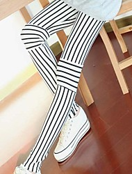 Women's Korean Style Fashion Vertical Stripes Stitching Cropped Pants
