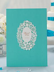 floral elegante libro de corte láser para invitados (5 páginas) firmar en el libro