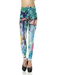 Elonbo Fashion Cute Alice Style Digital Painting Tight Women Leggings