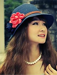 Mujeres Flores paja de la manera del sombrero de Sun