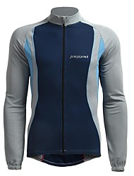 JAGGAD Cycling Tops / Jerseys Men's Bike Breathable / Quick Dry / Thermal / Warm Long Sleeve Polyester / Elastane Patchwork Dark BlueS /