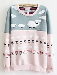 Women's Gray/Pink Hoodies , Casual/Cute Long Sleeve
