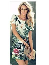 Donna pittura di paesaggio Stampa vestito chiffon floreale
