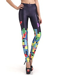 Elonbo Grid Design and Color Style Digital Painting Tight Women Leggings