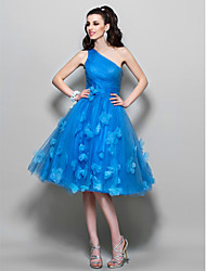 TS Couture® Cocktail Party / Homecoming / Prom Dress - Floral / 1950s Plus Size / Petite A-line One Shoulder Knee-length Tulle with Beading