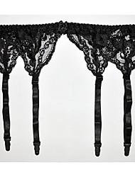 malha preta rendas garterbelt das mulheres (se encaixa para quadris 85-105cm)